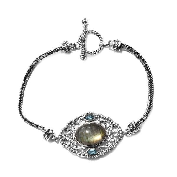 11.43 Ct Labradorite and Electric Blue Topaz Bracelet in Silver 13.51 Grams 8 Inch
