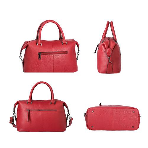 100% Genuine Leather Solid Burgundy Satchel Bag with Adjustable Shoulder Strap and Zipper Closure (32x14x23cm)