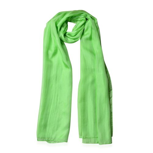 100% Mulberry Silk Paradise Green Colour Scarf (Size 180X100 Cm)