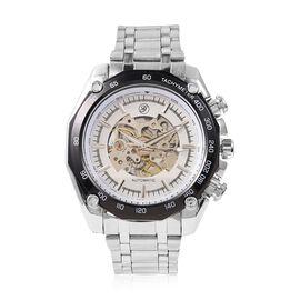 GENOA Automatic Skeleton Water Resistant Watch in Dual Tone with Stainless Steel Strap