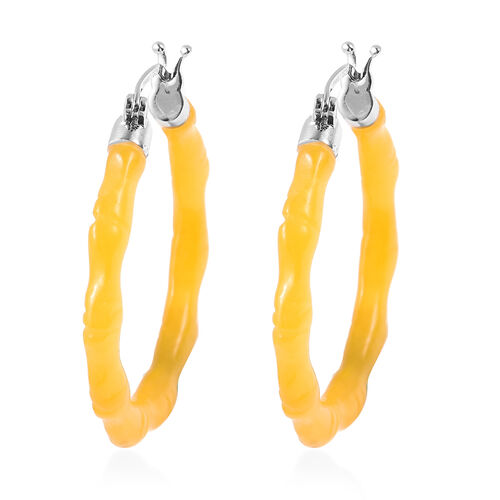 28.50 Ct Yellow Jade Carved Bamboo Design Hoop Earrings in Rhodium Plated Sterling Silver