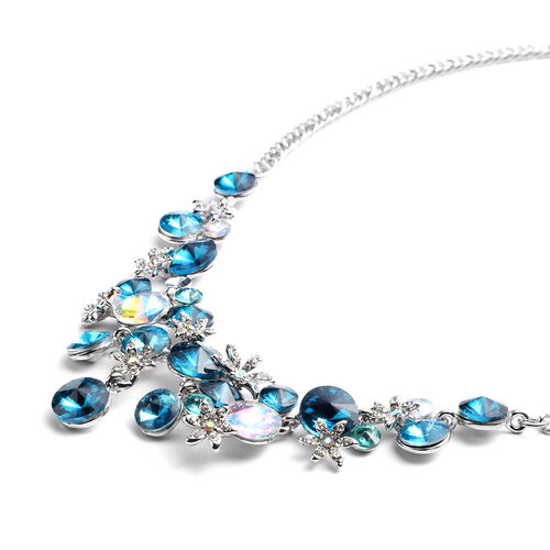 Multi Colour Simulated Gemstone and Multi Colour Austrian Crystal Necklace(Size 23.5 with Extender) in Silver Tone