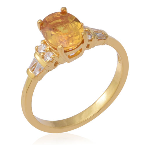 Yellow Sapphire (Ovl), Natural Cambodian White Zircon Ring in Yellow Gold Overlay Sterling Silver 2.74 Ct.