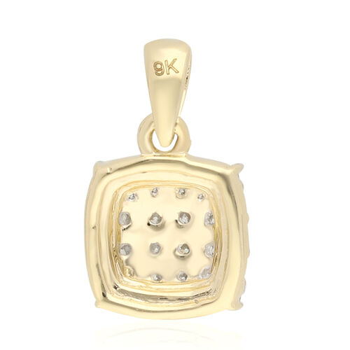9K Yellow Gold SGL Certified Natural Diamond (I3/G-H) Pendant 0.25 Ct.