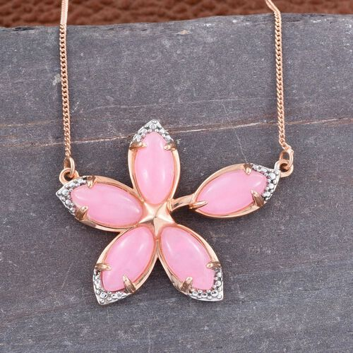 Pink Jade (Mrq) Floral Necklace (Size 18) in 14K Gold Overlay Sterling Silver 6.750 Ct. Silver wt 4.56 Gms.