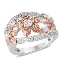 J Francis - Rose Gold and Platinum Overlay Sterling Silver (Rnd) Floral Ring Made With SWAROVSKI ZIR