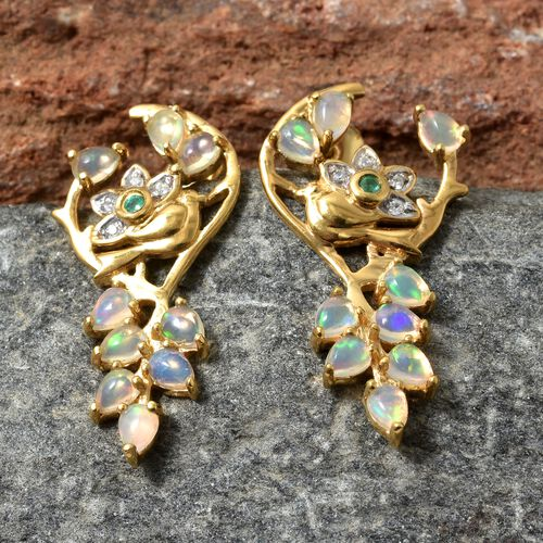 Ethiopian Welo Opal (Pear), Kagem Zambian Emerald and Natural Cambodian Zircon Earrings (with Push Back) in 14K Gold Overlay Sterling Silver 1.750 Ct.