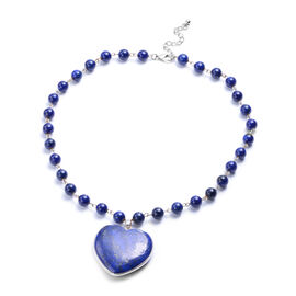 Lapis Heart Shaped Pendant in Beaded Necklace (Size 20.5)