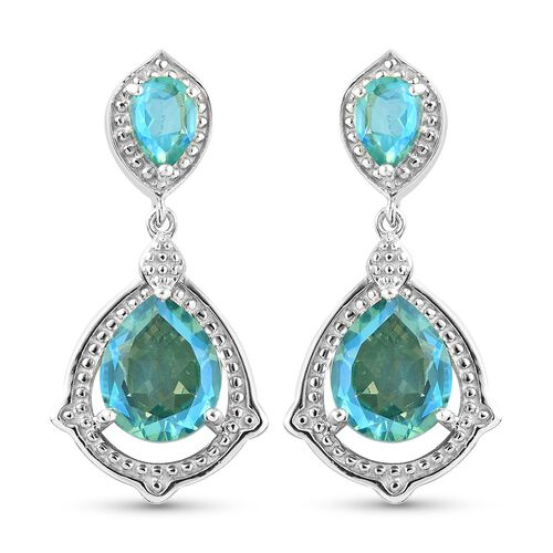 Peacock Triplet Quartz Dangling Earrings (with Push Back) in Platinum Overlay Sterling Silver 7.50 C