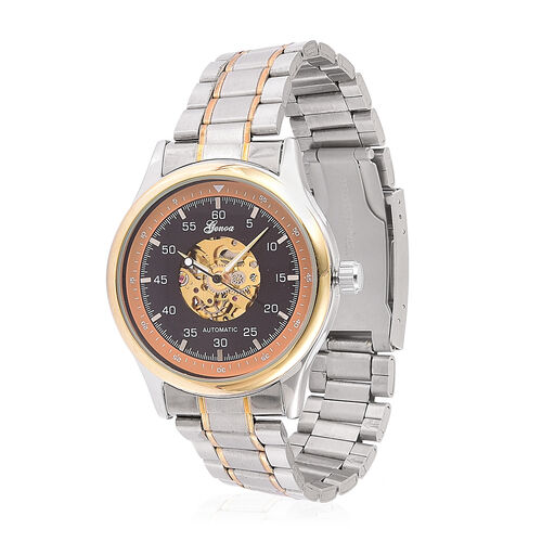 GENOA Automatic Skeleton Black Dial Watch in Yellow Gold and Silver Tone with Stainless Steel and Glass Back