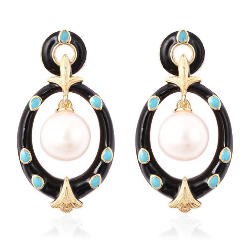 Edison Pearl Dangle Earrings in Yellow Gold Overlay Sterling Silver, Silver wt 6.19 Gms