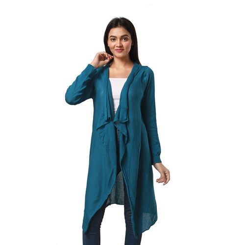 Marigold Lotus: 100% Cotton Knit Long Sleeve Waterfall Cardigan in Teal Green - XS (UK Size 8)