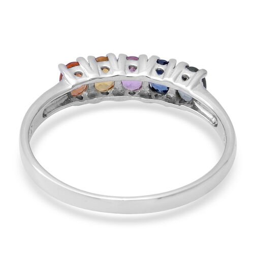 Rainbow Sapphire (Ovl) Ring in Rhodium Overlay Sterling Silver 1.20 Ct.