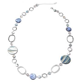 Multicolour Shell and Simulated Grey Diamond Necklace (Size 35 with 3 Inch Extender) in Silver Tone