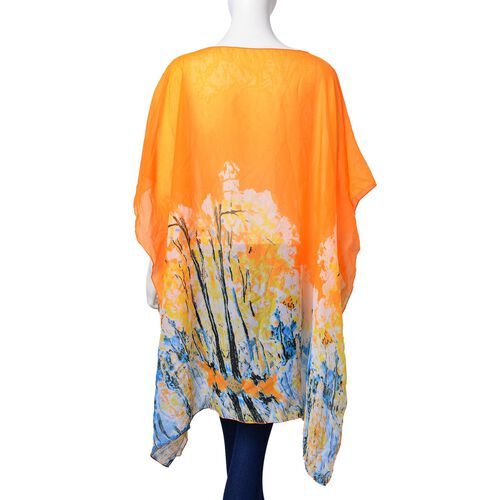 Orange, Blue and Multi Colour Abstract Pattern Poncho (Free Size)