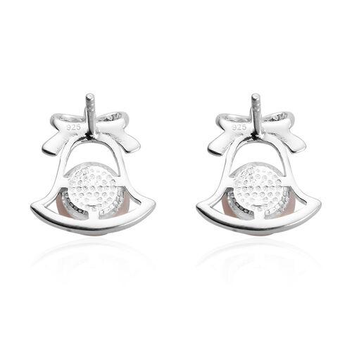 Freshwater Peach Pearl Bell Stud Earrings in Sterling Silver