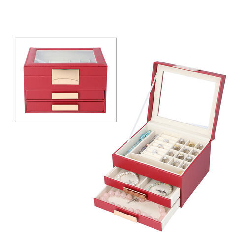 Three Layer Anti-Tarnish Jewellery Box with Transparent Glass Window at Top in Wine Red Colour