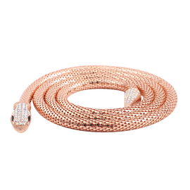 Champage Austrian Crystal and Simulated Black Spinel Necklace (Size - 51) in Rose Gold Tone