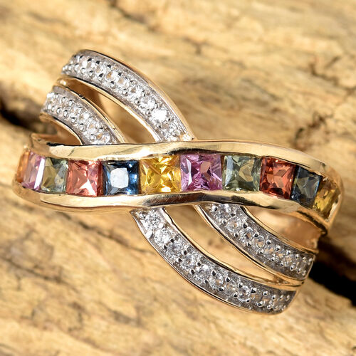 9K Yellow Gold AAA Princess Cut Rainbow Sapphire Channel Setting Ring 1.750 Ct.