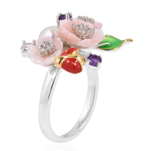 JARDIN COLLECTION - Pink Mother of Pearl, Fresh Water White Pearl, Amethyst, and Natural White Cambodian Zircon Enameled Floral Ring in Rhodium and Gold Overlay Sterling Silver, Silver wt 5.77 Gms