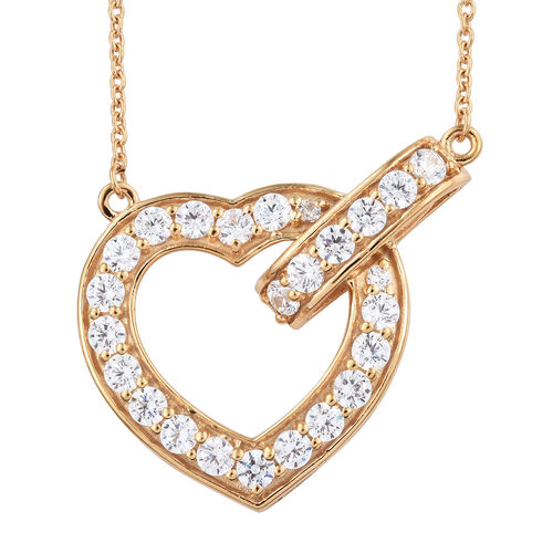 J Francis - 14K Gold Overlay Sterling Silver (Rnd) Heart Necklace with Chain (Size 18) Made with SWA