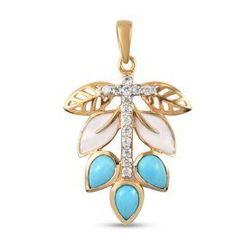 Arizon Sleeping Beauty Turquoise and Natural Combodian Zircon Enamelled Pendant in 14K Gold Overlay