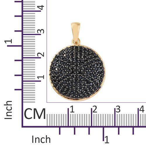 Boi Ploi Black Spinel (Rnd) Pendant in 14K Gold Overlay Sterling Silver 3.250 Ct, Silver wt 6.19 Gms, Number of Black Spinel- 166