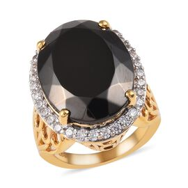 12 Ct Elite Shungite and Cambodian Zircon Halo Ring in 14K Gold Plated Sterling Silver 7.94 Grams