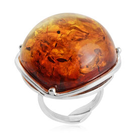 Bi Color Baltic Amber Solitaire Ring in Sterling Silver 8 Grams