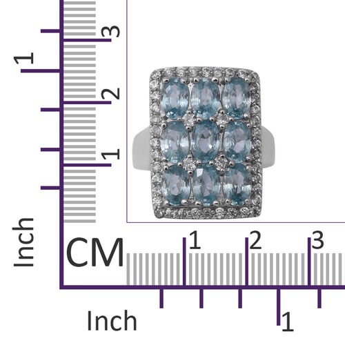 Ratnakiri Blue Zircon (Ovl 6.30 Ct), Natural Cambodian White Zircon Ring in Rhodium Overlay Sterling Silver 7.500 Ct. Silver Wt. 5.20 Gms
