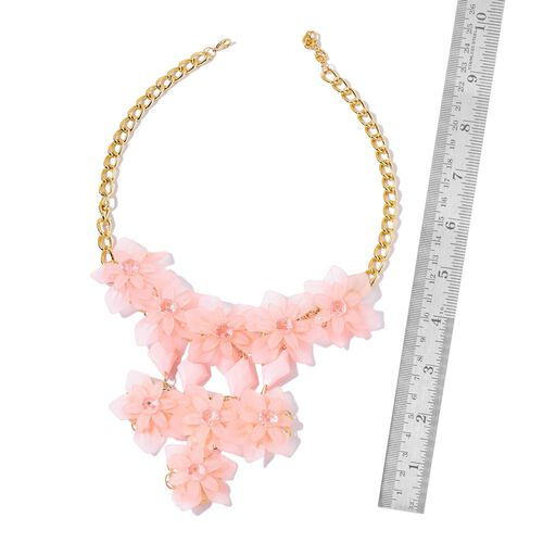 Simulated Pink Sapphire Floral Necklace (Size 22 with 1 inch Extender) in Yellow Gold Tone