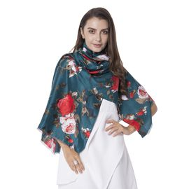 Designer Inspired- Green and Multi Colour Red and White Rose Pattern with Small Tassels Shawl (Size