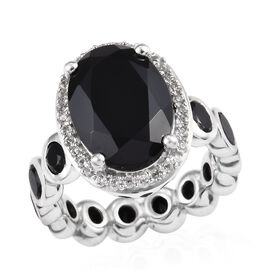 10 Carat Boi Ploi Black Spinel and Zircon Halo Ring in Platinum Plated Silver 5.09 Grams