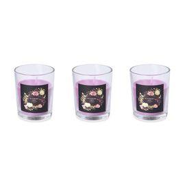 Set of 3 - Aromatic Candle and Glass Container (Size 5x6.5 Cm) with Gift Box (Sage and Berry Fruit F