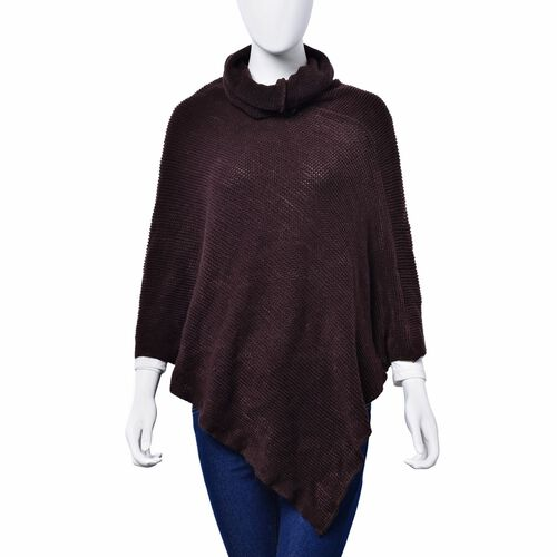 Chocolate Colour Long Collar Poncho (Free Size)