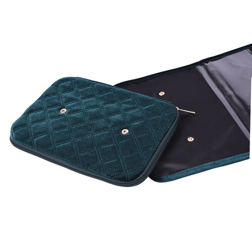Foldable Travel Jewellery Storage Pouch with Hanging Hook in Dark Green Colour