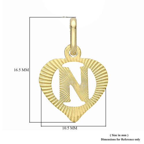 Children Diamond Cut N Initial Heart Pendant in 9K Yellow Gold