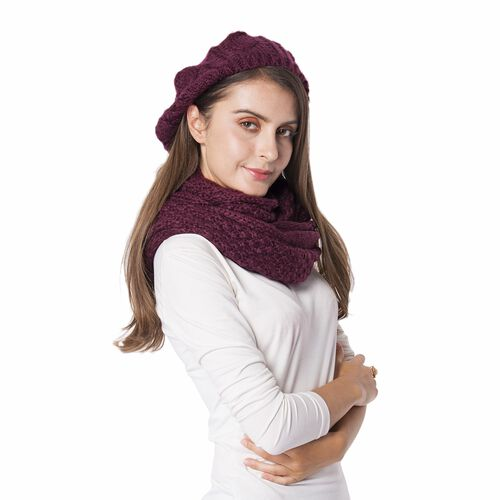2 Piece Set - Hat (Size 28 Cm) and Infinity Scarf with Twist Pattern Design (Size 130x40 Cm) Colour Wine