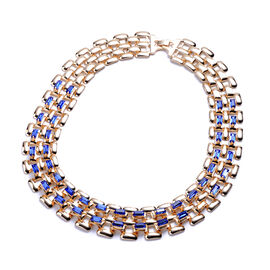 Designer Inspired- Blue Crystal- Panther Link Necklace (Size 20) in Gold Tone