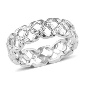 Diamond Band Ring in Platinum Plated Silver
