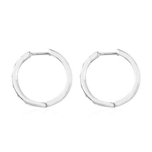 J Francis - Platinum Overlay Sterling Silver Hoop Earrings Made with SWAROVSKI ZIRCONIA 2.83 Ct, Sil