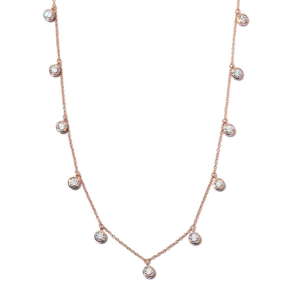 J Francis Rose Gold Overlay Sterling Silver Station Necklace (Size 18) Made with SWAROVSKI ZIRCONIA