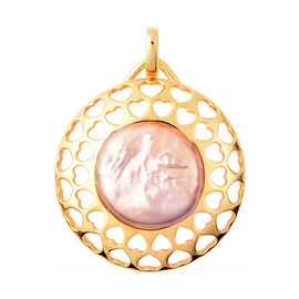 Baroque Pearl Pendant in Yellow Gold Overlay Sterling Silver