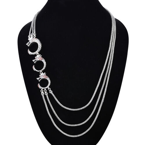 Royal Bali Collection - Mozambique Garnet Three Strand Dragon Necklace (Size 27) in Sterling Silver 3.53 Ct, Silver wt 93.95 Gms