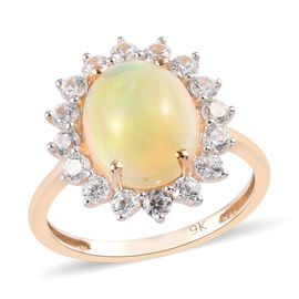 9K Yellow Gold Wegel Tena Opal and Natural Cambodian Zircon Halo Ring 3.25 Ct.