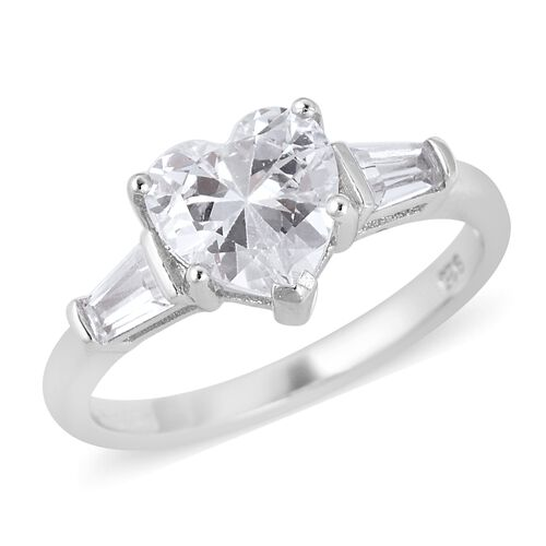 ELANZA Simulated Diamond Heart Ring in Sterling Silver