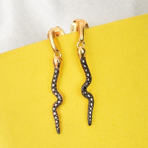 Black Diamond Serpent Earrings in 14K Gold Overlay Sterling Silver