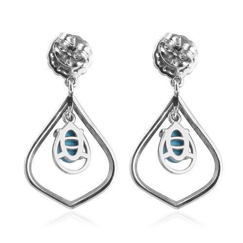 Arizona Sleeping Beauty Turquoise Drop Earrings in Platinum Overlay Sterling Silver 1.25 Ct.