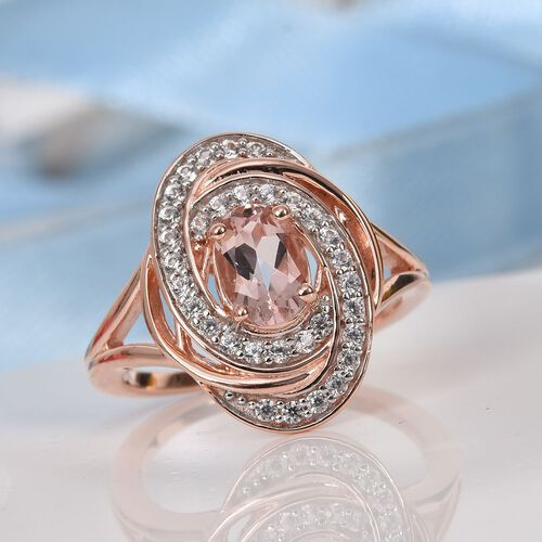 Marropino Morganite and Natural Cambodian Zircon Swirl Ring in Rose Gold Overlay Sterling Silver 1.05 Ct.
