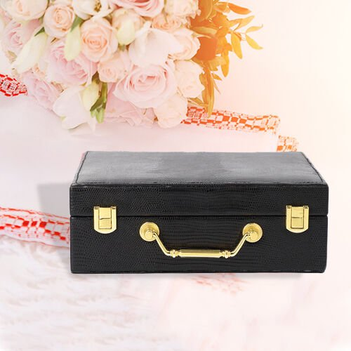 Grace Collection - Two Layer Lizard Skin Pattern Anti-Tarnish Jewellery Box with Inside Mirror and Removable Tray (Size 24x18.5x8.5cm) - Black